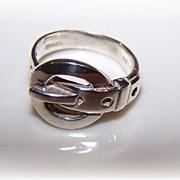 Vintage Israel 925 Sterling Silver Buckle Ring Size 5