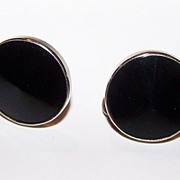 Vintage Deco Style Black Glass Screw Style Earrings
