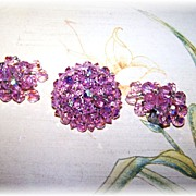 Pretty In Pink  Faceted Aurora Borealis Swarovski  Crystal Brooch & Waterfall Earring Demi-Parure