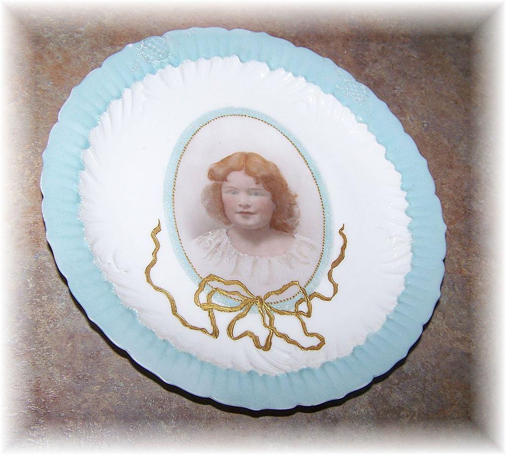 Sentimental Memorial Portrait Plate M.R. France
