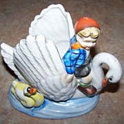 MIJ Ceramic Planter Hand Painted Child on Swan