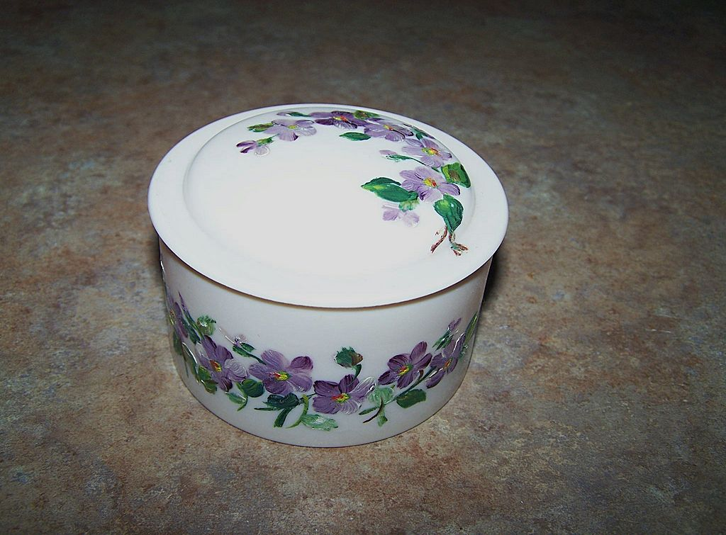 Vintage Hand Painted Beetleware Covered Pot Violet Motif