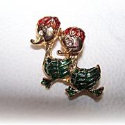 Too Cute Vintage Enamel Duck Brooch