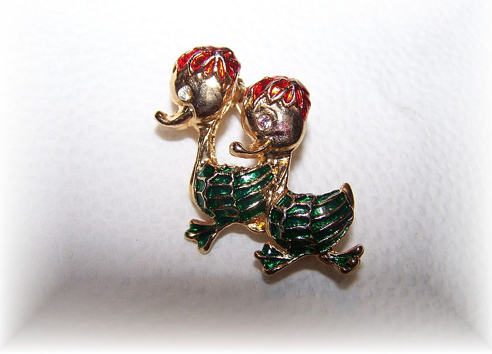 Too Cute Vintage Enamel Duck Brooch