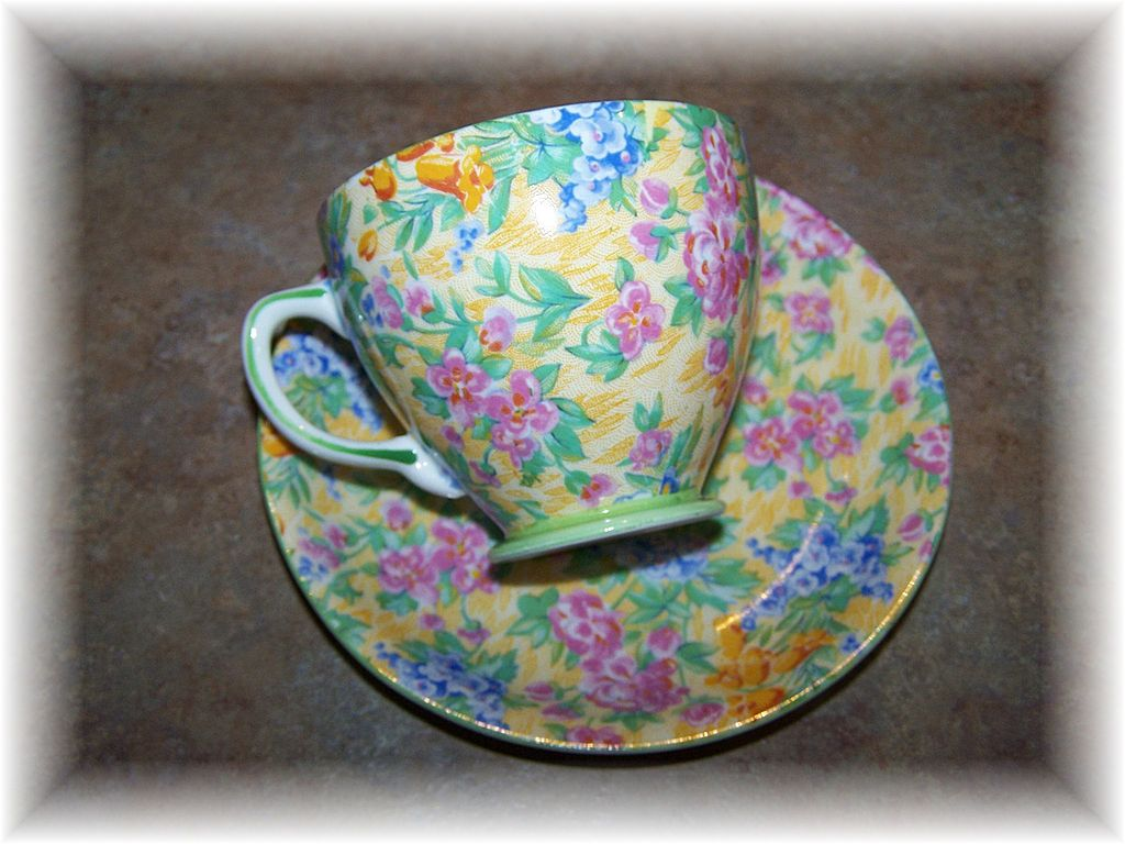 Colorful Chintz Tea Cup & Saucer Sampson Smith Old Bone China
