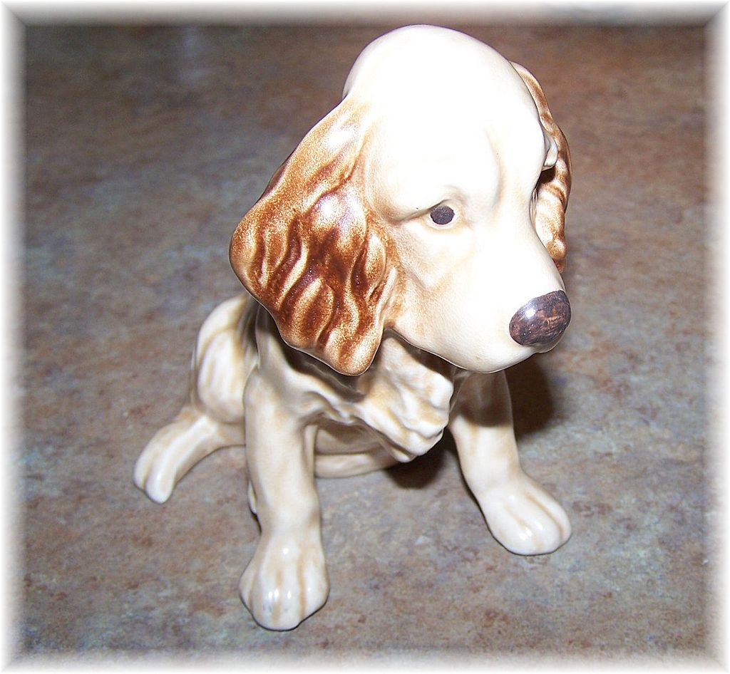 Woof Woof A Charming Sylvac Pottery England Spaniel Puppy Dog Figurine # 18