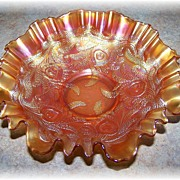 Fenton Heart & Vine Marigold Carnival Glass Ruffled Bowl