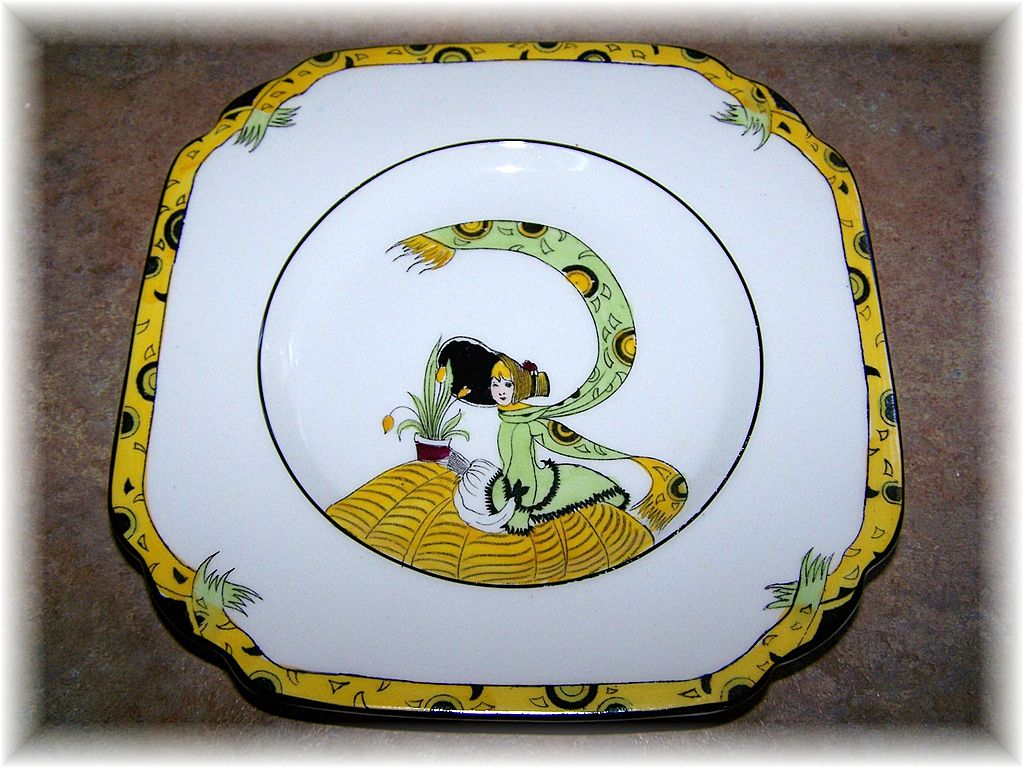 Melba Bone China Plate Featuring Art Deco Style Image Dolly Varden