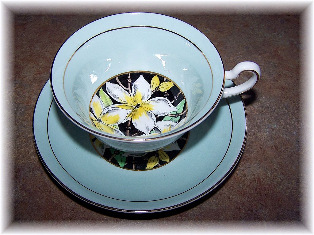 Artist Signed Rosina Bone China Teacup & Saucer Floral Motif