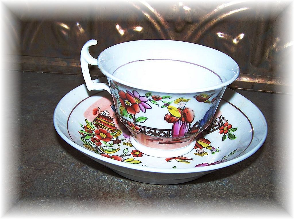 19th C Soft Paste Porcelain Oriental Motif Tea Cup & Saucer