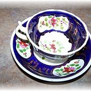 Pretty Hand Painted  Soft Paste Porcelain Cup & Saucer Floral Motif