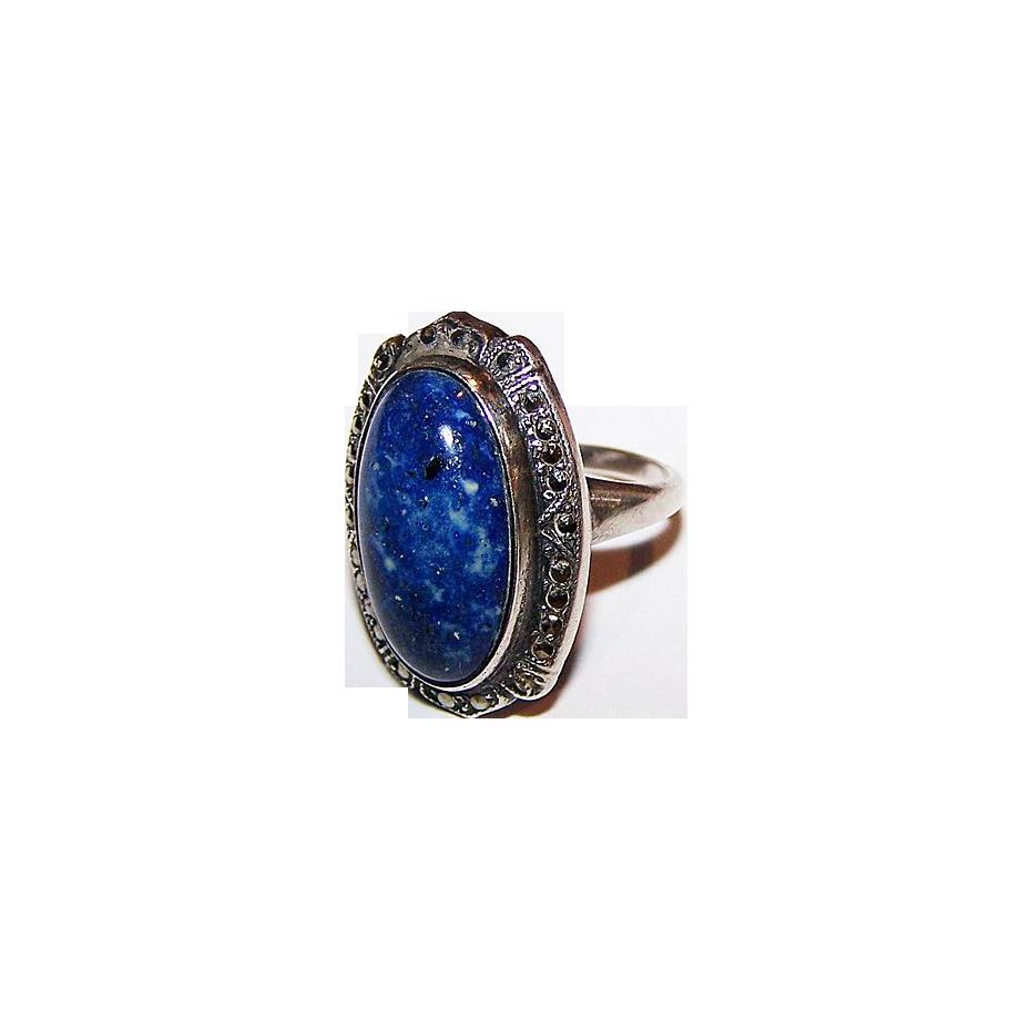 Deco Style Sterling  Uncas Lapis Marcasite Ring Size 5.25