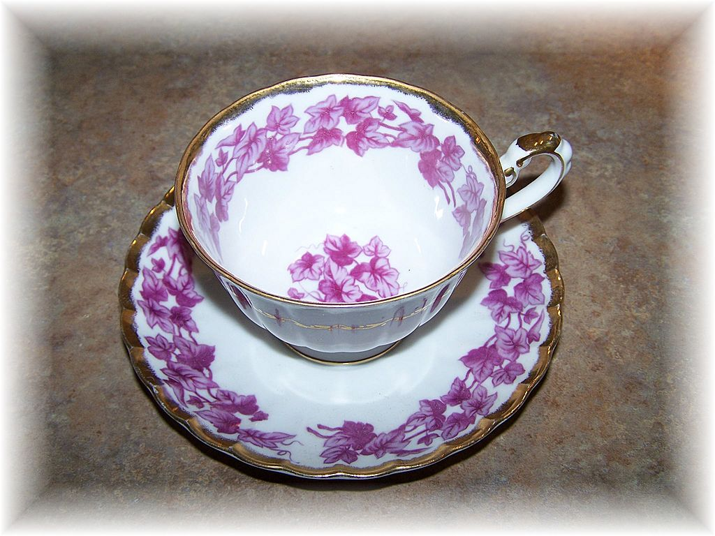 Shafford Hand Decorated Japan Mulberry & Pink Leaf Vine Tea Cup & Saucer