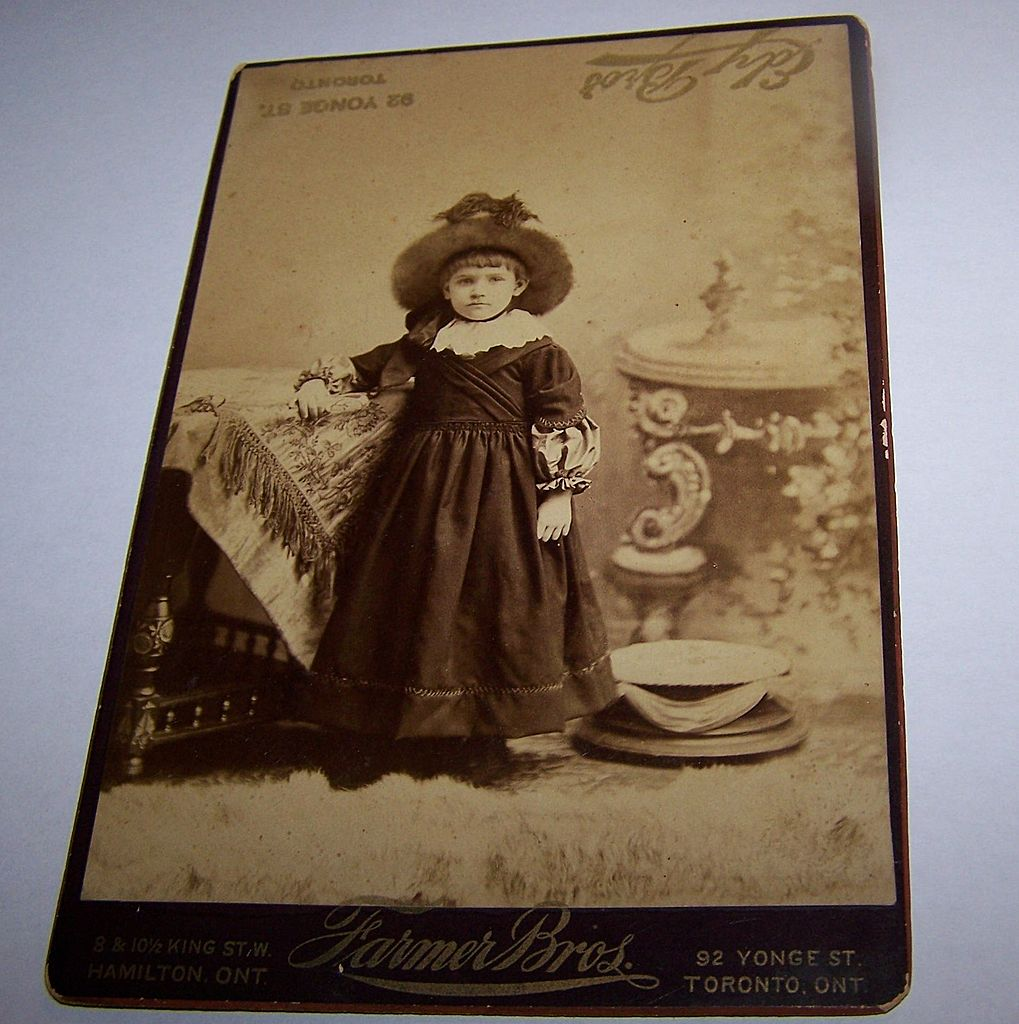 Sepia Photograph Charming Little Girl Child In Hat & Costume