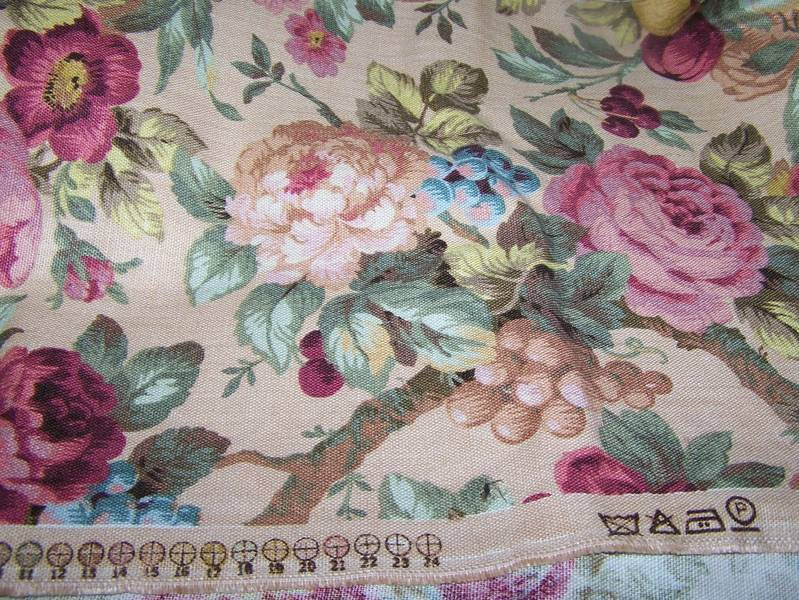 vintage material all over rose floral motif colorful from victoriasjems on ruby lane. Black Bedroom Furniture Sets. Home Design Ideas