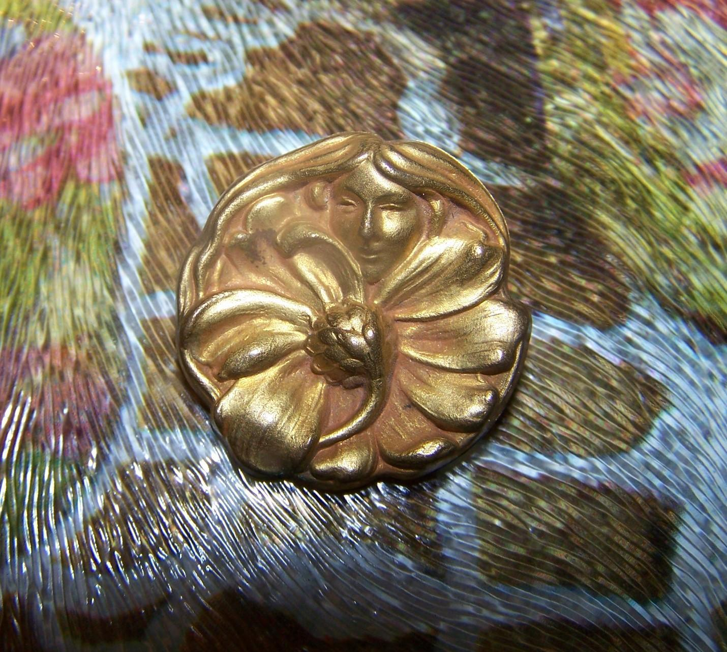 Repousse Art Nouveau Style Brass Lady Flowing Hair Flower Pin
