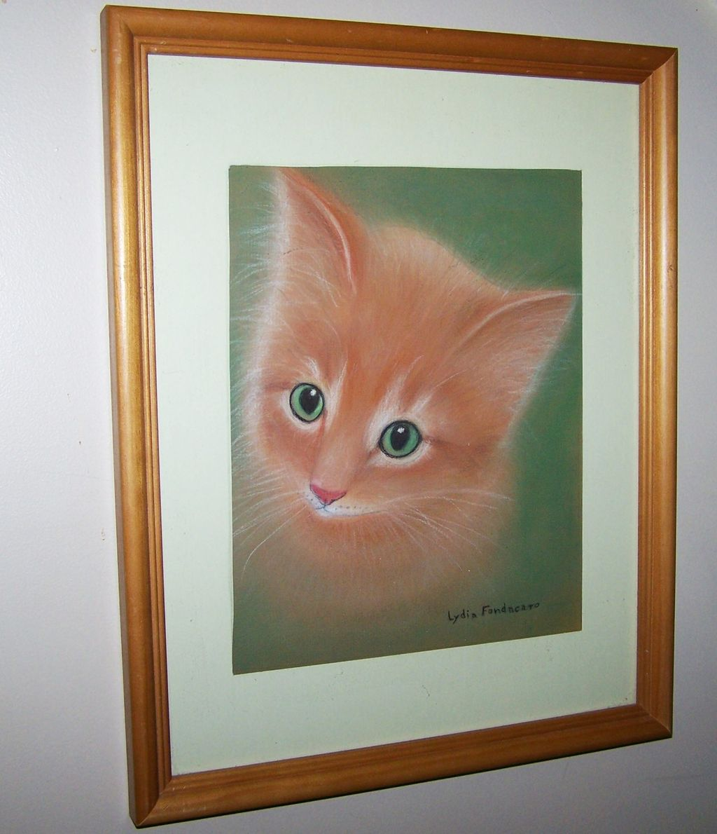 Charming Pencil & Pastel Drawing Kitty Cat