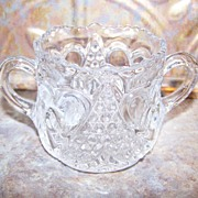 Charming Vintage Pressed Glass Sweetheart Sugar Bowl