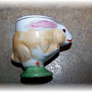 Hand Painted Japan Ceramic  Figural Bunny Rabbit Egg Cup