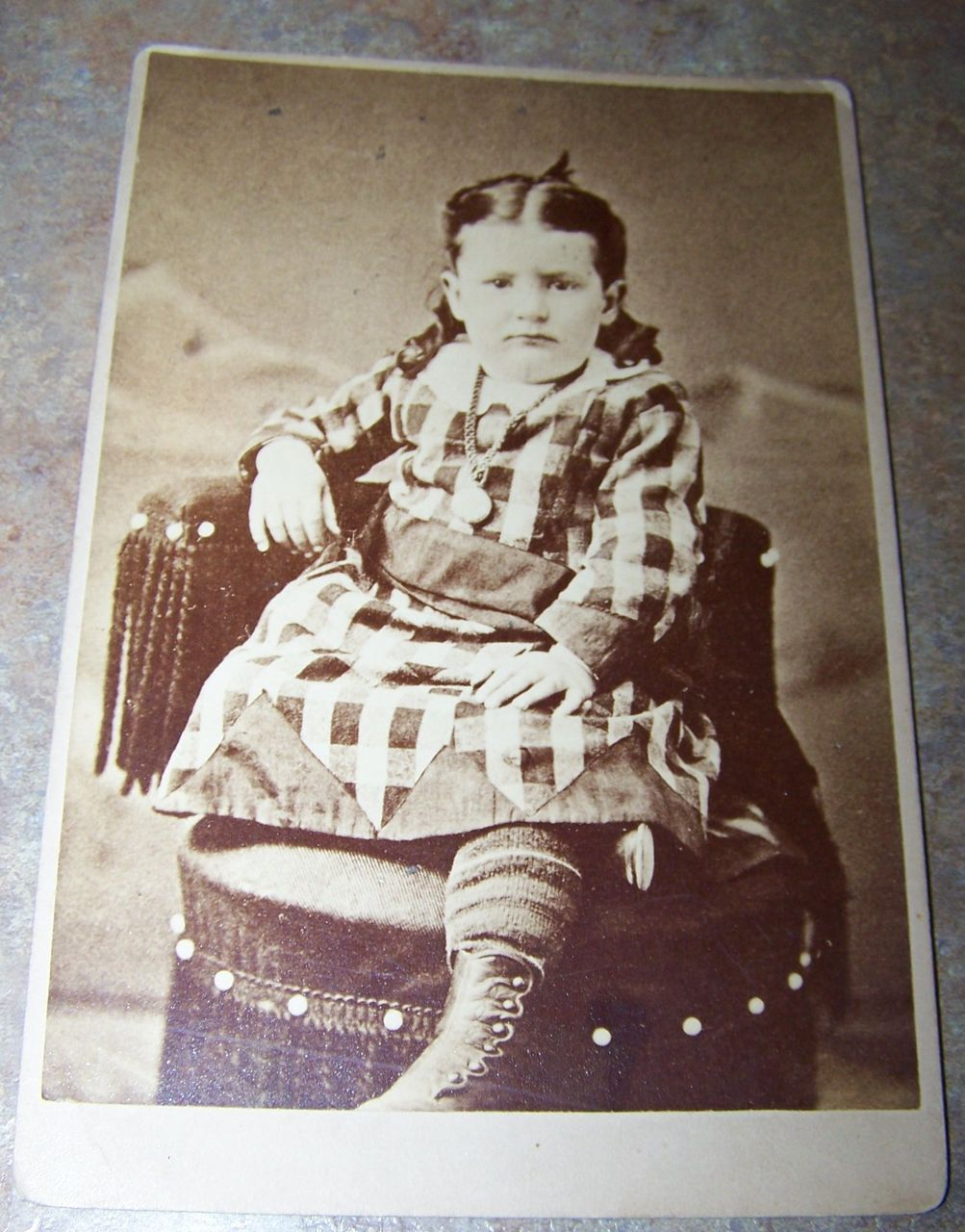Vintage Cabinet Card  Photograph Serious Little Girl