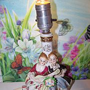 Charming Vintage Ceramic Lamp Colonial Couple Made In Japan