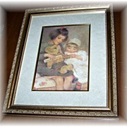 "A Charming Vintage Framed Print Titled "" Teddy """