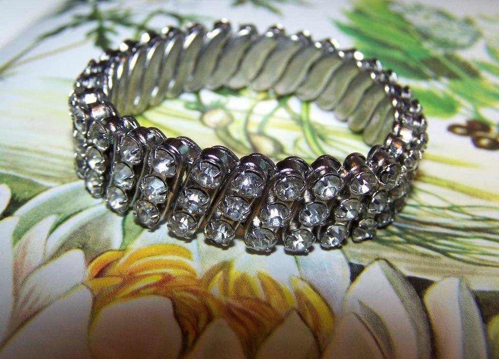 Vintage Deco Style 3 Row Flex Expansion Bracelet