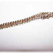 Vintage 925 Sterling Silver  Gold Vermeil  Rhinestone Bracelet with Heart Charm