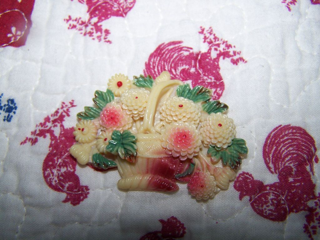 Collectible Vintage  Camphor Celluloid Basket  of Flowers Pin With Paint