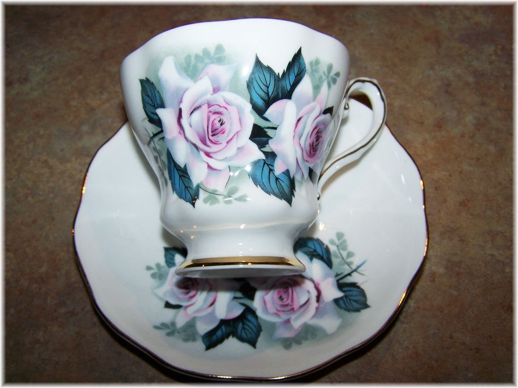 Vintage Royal Grafton Rose Floral Motif Tea Cup & Saucer