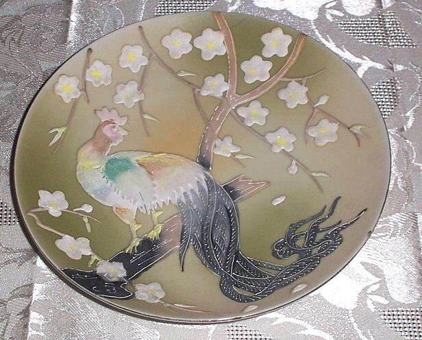 Vintage enamel decorative 1950's Cock/Rooster Plate Shafford Japan
