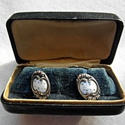 Great Pair Of Art Nouveau Sterling & Enamel Cufflinks