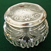 Cut Glass Powder/Dresser Jar Sterling Lid by R. Wallace & Sons