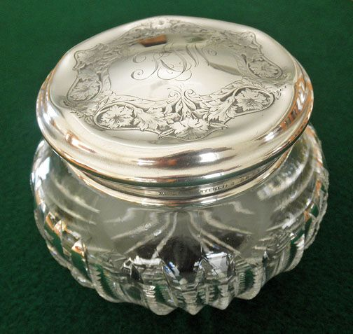 Cut Glass Powder Dresser Jar Sterling Lid By R Wallace