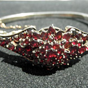 Victorian Bohemian Garnet Hinged Bangle Bracelet