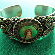Victorian Silver Colored Bracelet With Porcelain Plaque