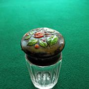 Victorian Sterling & Enamel Topped Cologne/Dresser Jar