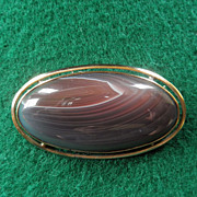 9K Gold Agate Brooch