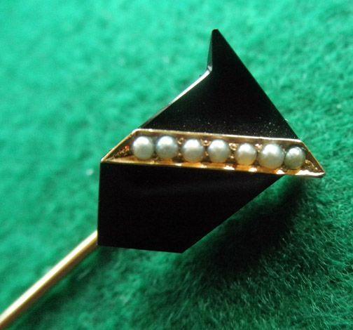 Victorian 14K Onyx & Seed Pearl Stick Pin