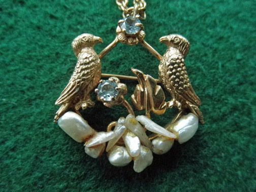 Vintage 14K Bird Pendant/Brooch With Freshwater Pearls & Aquamarine On 14K Chain