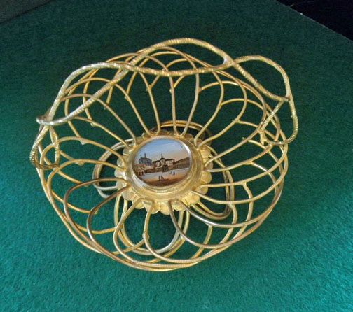 Antique French Miniature Eglomise Wire Basket