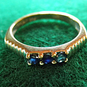 Estate 14K White Gold & Sapphire Ring Stackable Size 5 3/4