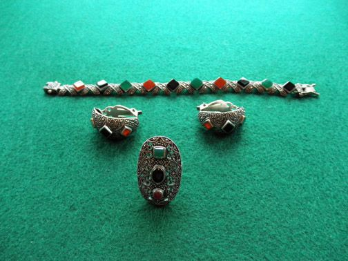 Vintage Sterling Set Marcasite & Colored Stones Bracelet Earrings Ring