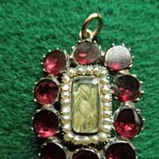 Georgian 9K Gold Garnet & Seed Pearl Pin or Pendant