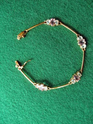 Sterling Vermeil Bracelet With Amethyst & Blue Topaz