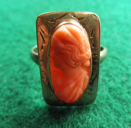 Victorian 10K Coral Cameo Ring Size 6