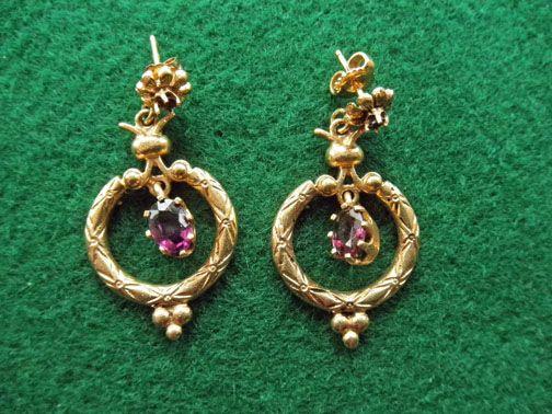 Vintage 14K & Amethyst Earrings Gorgeous