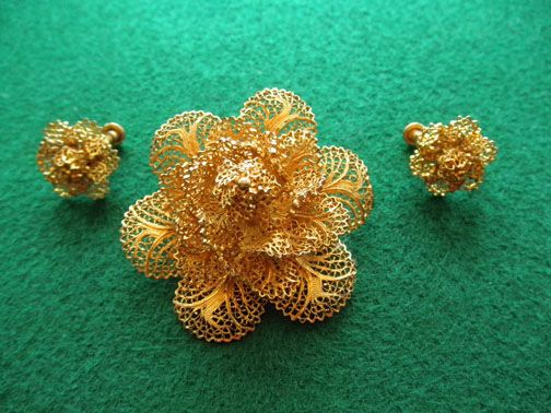Vintage Vermeil Filigree Brooch & Earrings