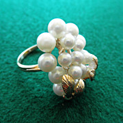 Estate 10K Cultured Pearl Cluster Ring