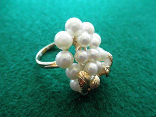 Estate 10K Cultured Pearl Cluster Ring